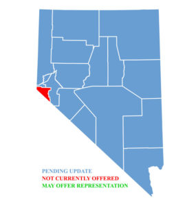 Nevada Map for traffic ticket representation in Douglas County