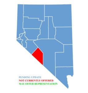 Nevada Map for traffic ticket representation in Esmeralda County