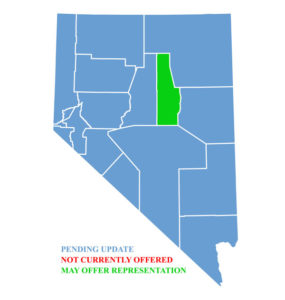 Nevada Map for traffic ticket representation in Eureka County