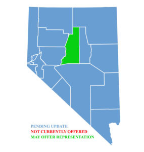 Nevada Map for traffic ticket representation in Lander County