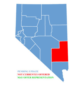 Nevada Map for traffic ticket representation at Lincoln County