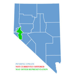 Nevada Map for traffic ticket representation in Lyon County