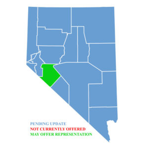 Nevada Map for traffic ticket representation in Mineral County