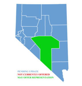 Nevada Map for traffic ticket representation in Nye County