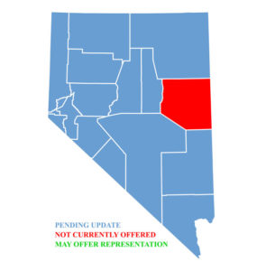 Nevada Map for traffic ticket representation at White Pine County